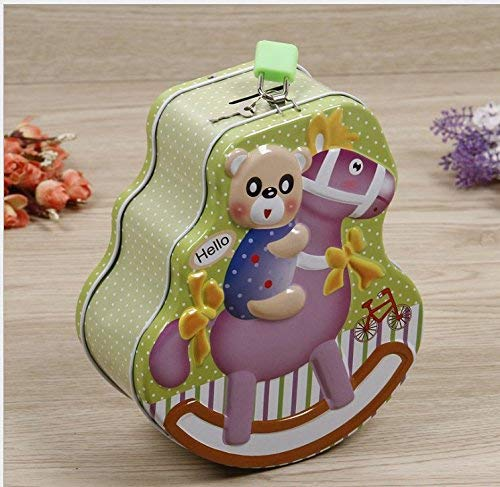 JINGB Creative Rocking Horse Piggy Bank Tinplate Candy Jar(Green) Desktop Decor Money Box