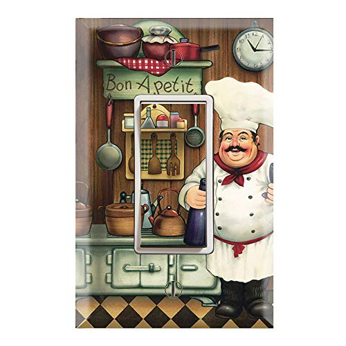 Graphics Wallplates - Bon Appetit Chef in the Kitchen- Single Rocker/GFCI Outlet Wall Plate Cover