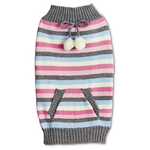 - Bond & Co. Snow Bunny Stripe Dog Sweater with Pocket, Medium, Pink