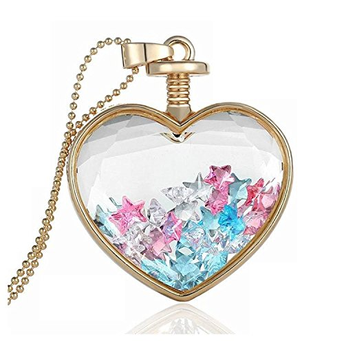 Colorful star Austrian Crystals In Transparent Quadrate Box Memory Locket Necklace For Women Circle Shaped Locket