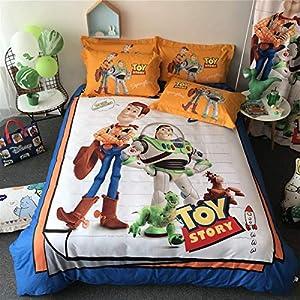 ZI TENG New Toy Story Duvet Duvet Cover Cartoon Kids Girl Boys Favorite Beddding Set 100% Cotton Cartoon Teenagers Students Bed Set 4PC 1Duvet Cover1Flat Sheet,2Pillow Case Queen Full Twin Size