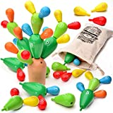 aGreatLife Wooden Balancing Cactus Toy – Montessori Rainbow Wooden Tree Stacker - Preschool Blocks Cactus Toy – Learn Basic Math Concepts, Spatial Awareness, Plan, Coordination Play – Ideal for Kids Age 3 - 8