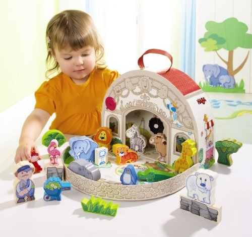 HABA at The Zoo Large Portable Take Along Play Set with 19 Wooden Pieces (Made in -