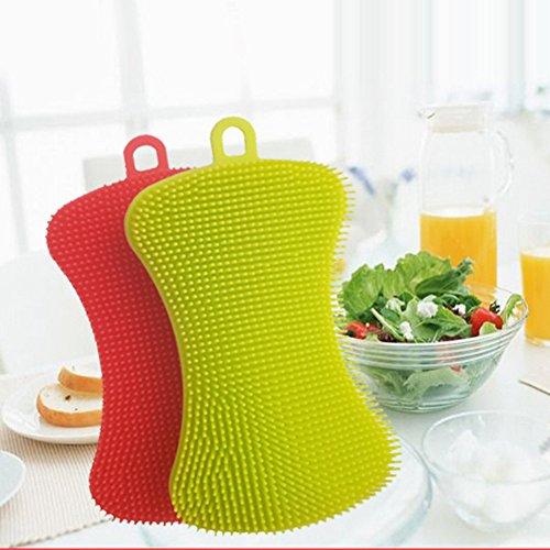 - t0uvtrukCs Dish Washing Sponge Scrubber Bathing Cleaner Multifunction Silicone Random Color