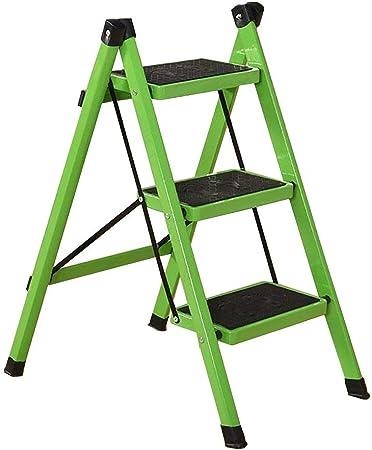 SEESEE.U Escalera Plegable para taburetes para Adultos Escalera Plegable de Cocina de Hierro con peldaños Antideslizantes (Color: Verde, Tamaño: 3 Niveles): Amazon.es: Hogar