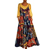 DondPo Summer Dress Women Plus Size Patchwork Two-Piece O-Neck Wrist Print Long Sleeve Vintage Maxi Dresses
