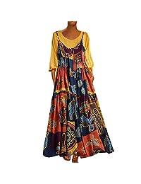 Cimaybo Summer Plus Size Patchwork O-Neck Vintage Print Dress Dos Piezas de Vestidos de Fiesta en la Playa para Mujeres