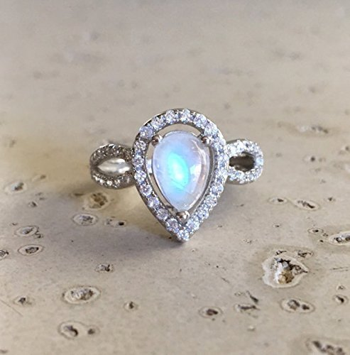 pear shape engagement ring moonstone engagement ring rainbow moonstone promise ring double band - Moonstone Wedding Rings