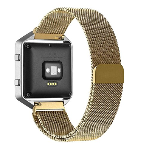 For Fitbit Blaze, TOOPOOT Milanese Magnetic Loop Stainless Steel Band For Fitbit Blaze (gold1)