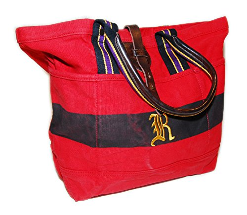 Ralph Lauren Rugby Vintage Rare Canvas Carryall Tote Bag Red Black Purple - Yellow Ralph Lauren Bag
