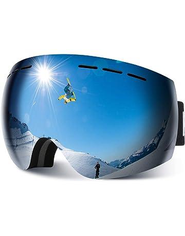 df7b889492 HAUEA Ski Snowboard Goggles OTG Glasses Interchangeable Dual Layers 100%  UV400 Protection Anti-Fog