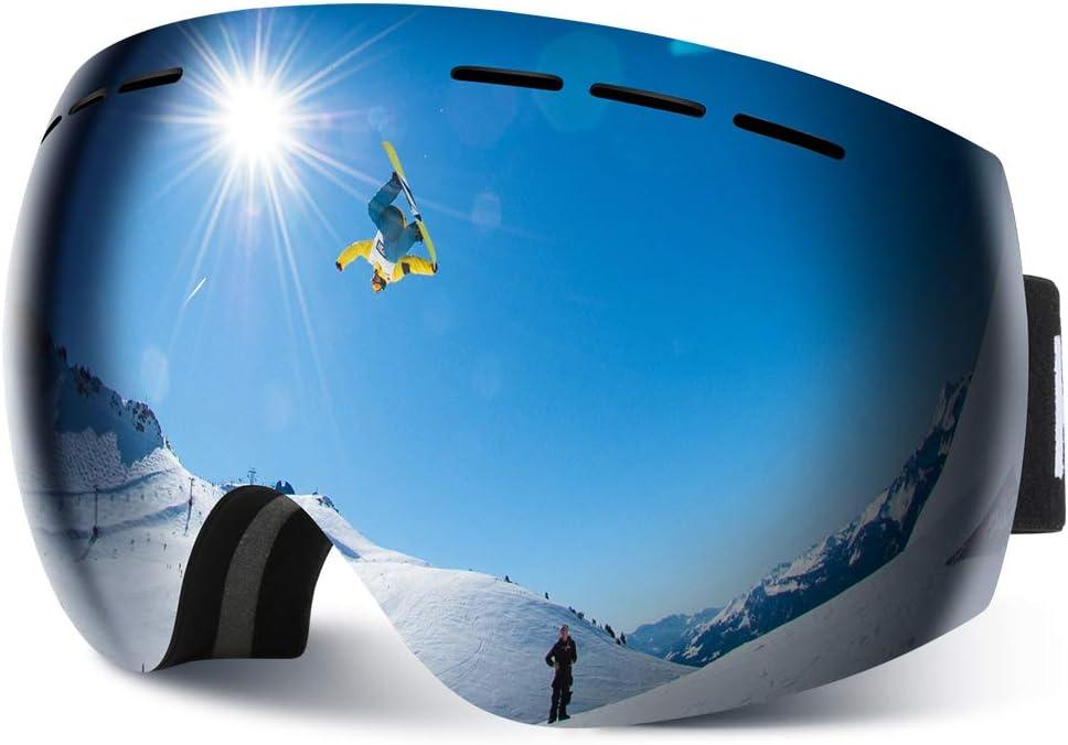 HAUEA Gafas de Esquí, Gafas Esquí Snowboard para Mujer Hombre, Máscara Esquí OTG con Gran Campo de Visión, Doble Lente Anti-Niebla, 100% UV400 Protección, Lente Intercambiable