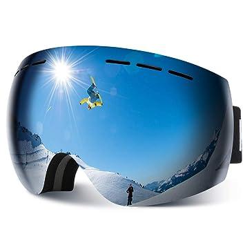 HAUEA Gafas de Esquí, Gafas Esquí Snowboard para Mujer Hombre, Máscara Esquí OTG con