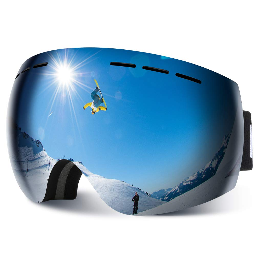 HAUEA Gafas de Esquí, Gafas Esquí Snowboard para Mujer Hombre, Máscara Esquí OTG con Gran Campo de Visión, Doble Lente Anti-Niebla, 100% UV400 Protección, Lente Intercambiable product image