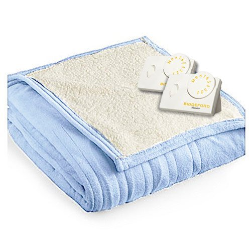 Biddeford 2063-9032138-535 MicroPlush Sherpa Electric Heated Blanket Queen Cloud Blue