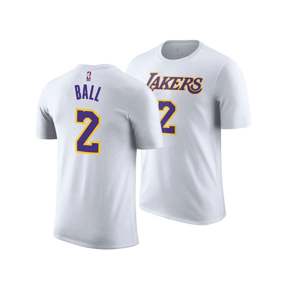 new concept 83b41 f3f96 Amazon.com   Lonzo Ball Los Angeles Lakers Youth White Name and Number  Player T-shirt   Sports   Outdoors