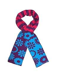 Jefferies Socks Girls Purple Blue Daisy Stripe Pattern Cotton Knit Scarf