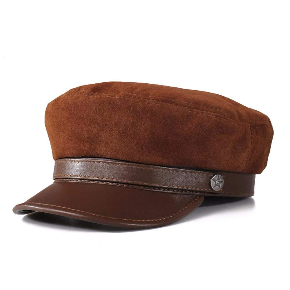 QIER-PM Männer und Frauen Herbst und Winter Leder Hut Fleece Hut Lokomotive Hut Jugend Flache Mütze Marine Mütze