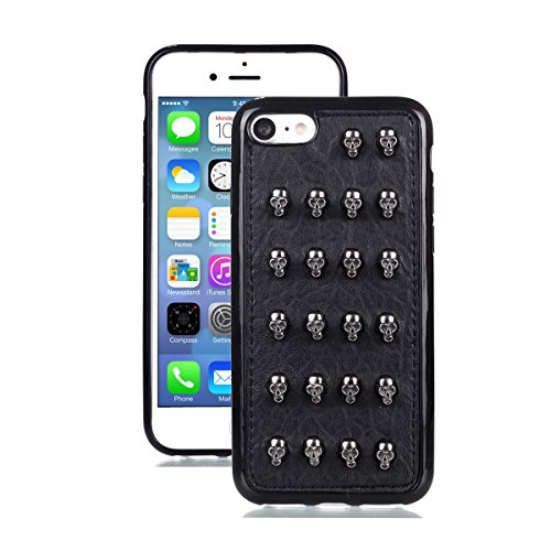 Chanroy - Punk Leather case cover for iPhone 8 & 7 (4.7'')- Cool Case for Men and Women(Studded Skull)