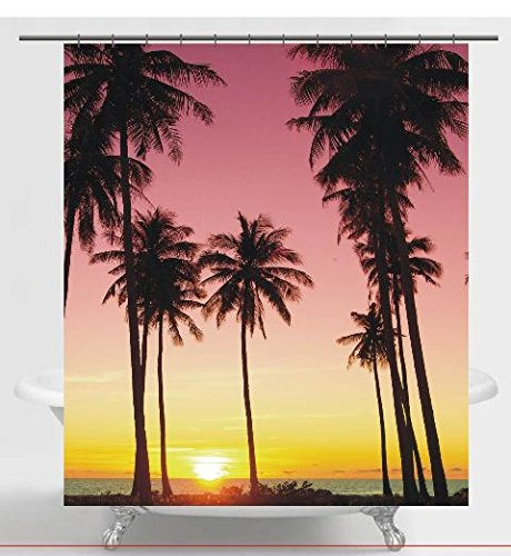 Palm Trees At Sunset Fabric Shower Curtain Outlet