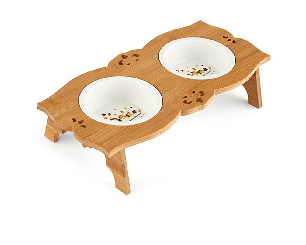 Ceramic Stainless Steel Pet Bowl with Bamboo Stand for Food and Water Bowls Pet Feeders Double Bowls