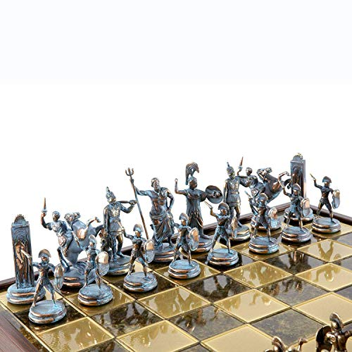 Manopoulos Greek Mythology X-Large Chess Set – Blue&Copper – Brown Chess Board
