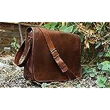 Leather Full Flap Messenger Handmade Bag Laptop Bag Satchel Bag Padded Messenger Bag School Bag Brown