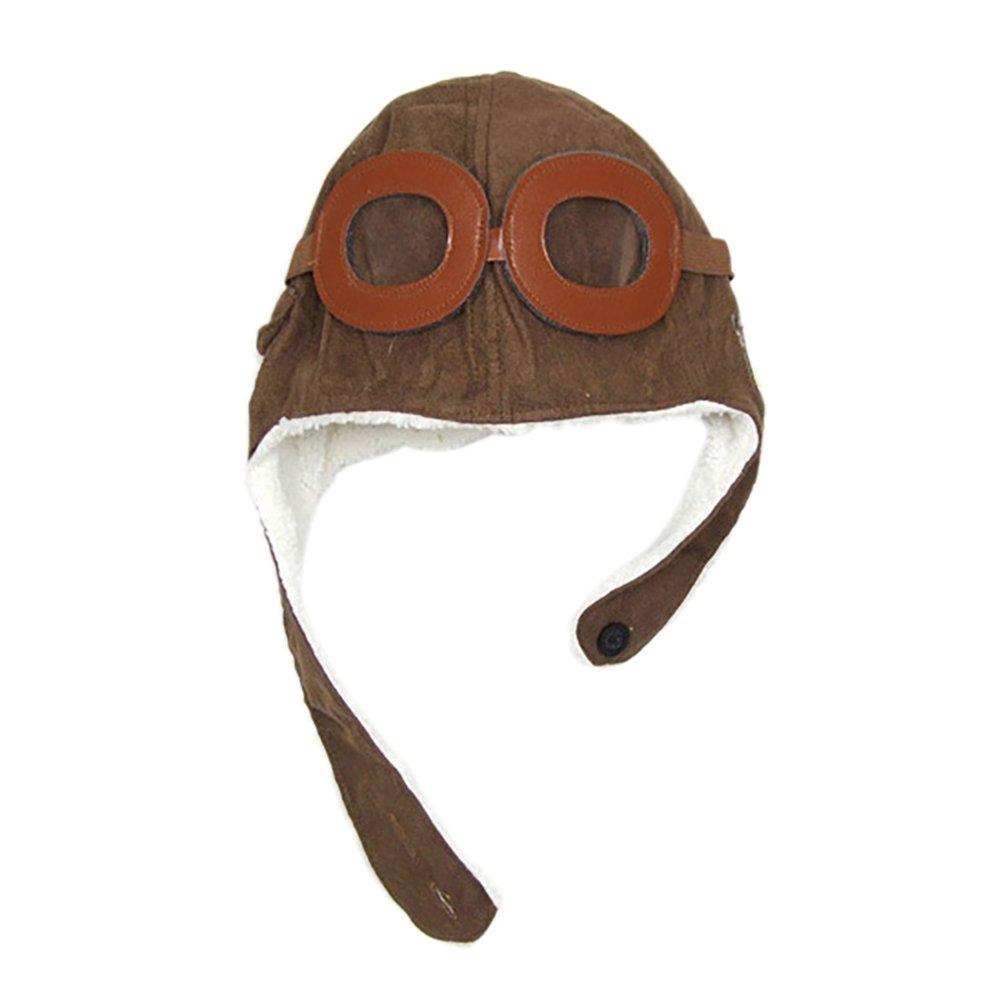 Kentop Children's Pilot Hat Children's Aviator Hat With Goggles Hat Autumn And Winter 1 Pcs (Black)