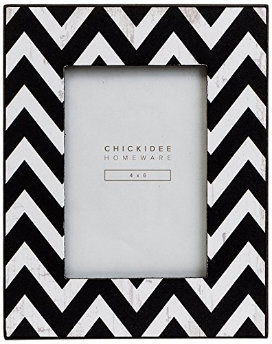 Chickidee homeware geometric zig zag photo frame wood black 24 5 x 19 5 x