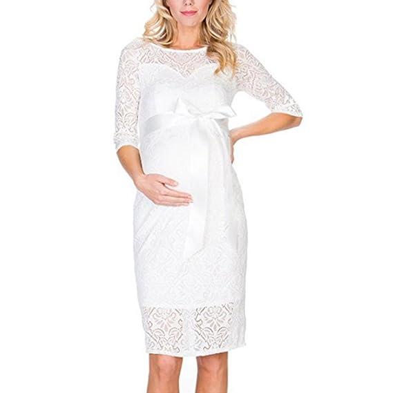 Cinnamou Mujer Embarazada Encaje Larga Vestido de maternidad Elegante Vista delantera foto Shoot Dress Faldas fotográficas