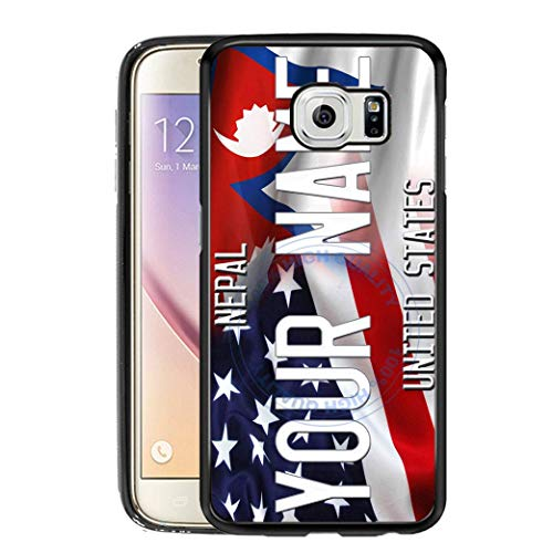 BRGiftShop Personalize Your Own Mixed USA and Nepal Flag Rubber Phone Case For Samsung Galaxy S6