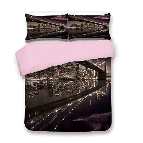 Pink Duvet Cover Set,Queen Size,Brooklyn Bridge Sunset NYC View Skyline Tourist Attraction Modern City Decorative,Decorative 3 Piece Bedding Set with 2 Pillow Sham,Best Gift For Girls Women,Pale Brown -