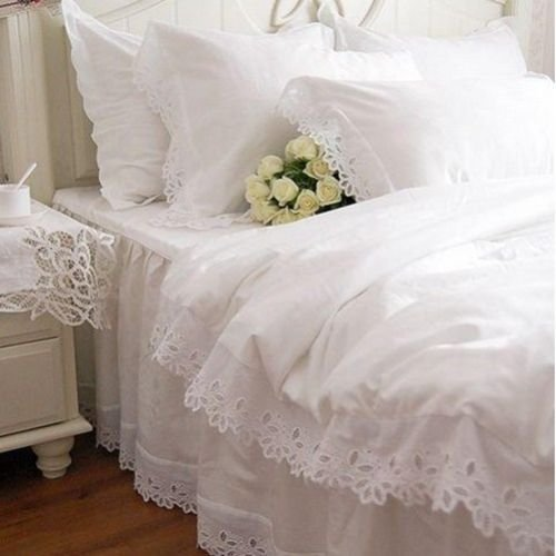 Swanlake Shabby and Elegant White Cutwork Lace Cotton Duvet Cover Bedding Set