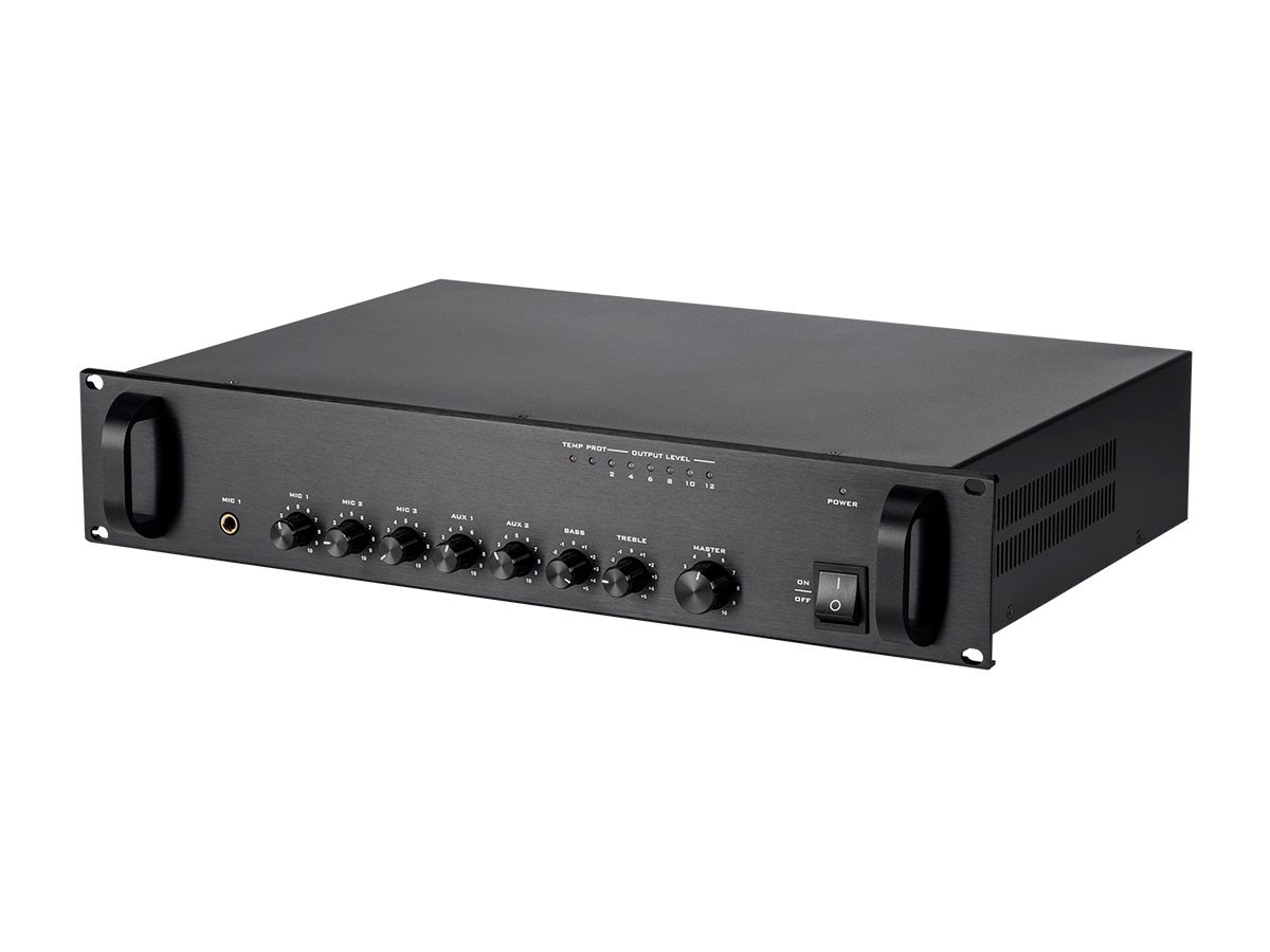 Monoprice 114886 Commercial Audio 120W 5ch 100/70V Mixer Amp with Microphone Priority (NO LOGO)