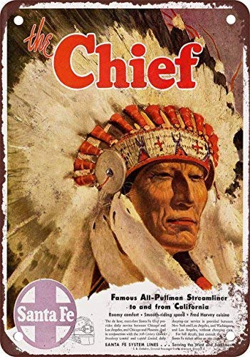 "1947 Santa Fe The Chief Vintage Look Reproduction Metal Tin Sign 12"" X 16"" Inches"