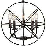 BTExpert 5078 Industrial Vintage Bronze Ceiling Chandelier 5 Lights Metal Hanging Fixture Review