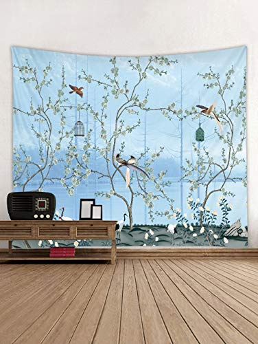 Flower Tree Decor Tapestries, Spring Asian Plant Tree Bird Decor Wall Hanging Tapestry Room Home Decoration Japanese Cherry Blossom Tree Wall Tapestry Blue for Bedroom Living College Dorm,60 x 80