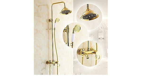 R&Y Grifo de Ducha Juego de Ducha de Cobre Puro Antiguo baño ...