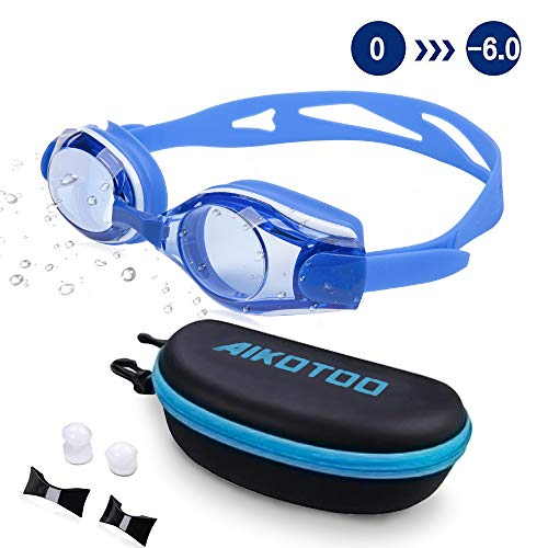 - AIKOTOO Swim Goggles,Shortsighted Swimming Goggles Myopic with Prescription Lenses Anti Fog Nose Clip Ear Plugs for Women Kids Men, Swimming Goggles