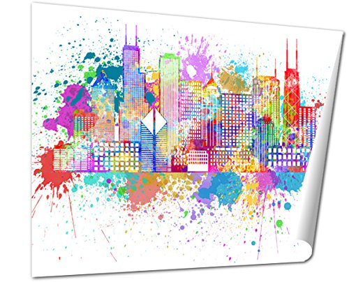 Ashley Giclee Chicago City Skyline Paint Splatter Color Illustration Wall Art Poster Print For Bedroom  Ready To Frame  16X20 Print