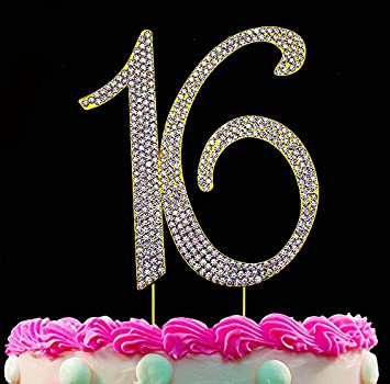 16th Birthday Cake Toppers Gold Topper 16 Bling Decorations By Yacanna Amazon Grocery Gourmet Food