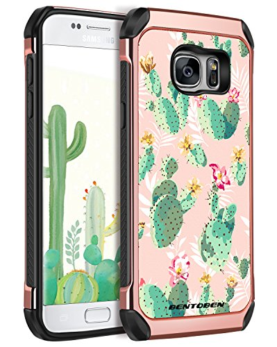 BENTOBEN Case for Galaxy S7, Cute Cactus Design 2 in 1 Dual Layer Rose Faux Leather Hard Case Soft Bumper Protective Cover for Samsung Galaxy S7 Girl Women, Rose ()