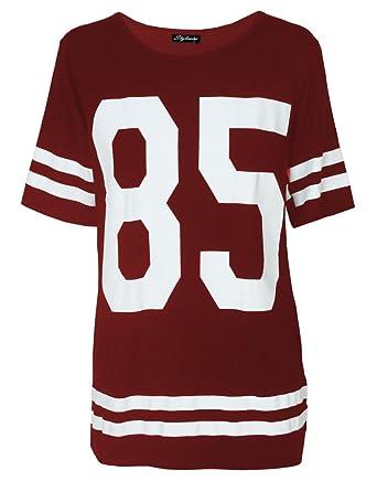 Damen Oversized Baggy American Baseball Jersey Nr. 85 Bedrucktes T-Shirt  für Damen, 026aeb0e91