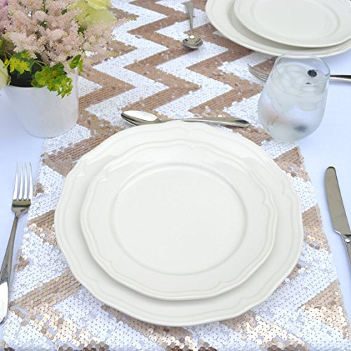 Christmas Tablescape Decor - Sophisticated champagne blush ziz-zag chevron design sequin table runner