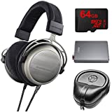 BeyerDynamic T1 Second Generation Audiophile Stereo Headphone 718998 w/ Amp Bundle Includes, FiiO A5 Portable Headphone Amplifier (Titanium), Slappa Headphone Case, 64GB MicroSDXC Memory Card