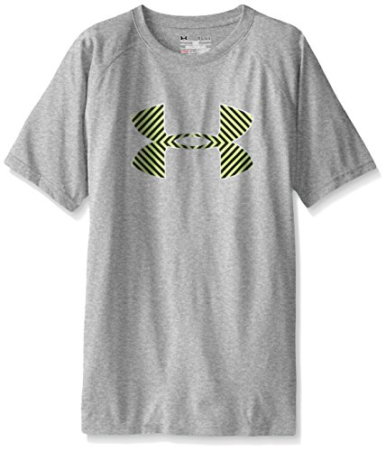 Under Armour Boys' Tech Big Logo Short Sleeve T-Shirt, True Gray Heather/Fuel Green, Youth Large