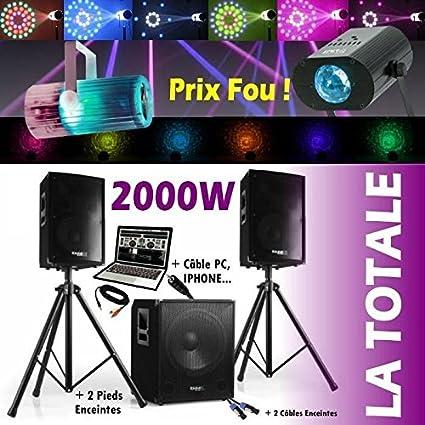 Pack sono 2000 W cubo 1512 + altavoces amplificador pies Cables + ...