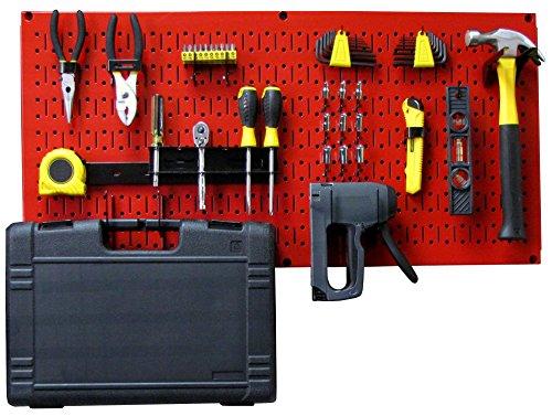 Wall Control Modular Pegboard Tool Organizer System - Wall-Mounted Metal Peg Board Tool Storage Unit for Pegboard Tiling (Red Pegboard)