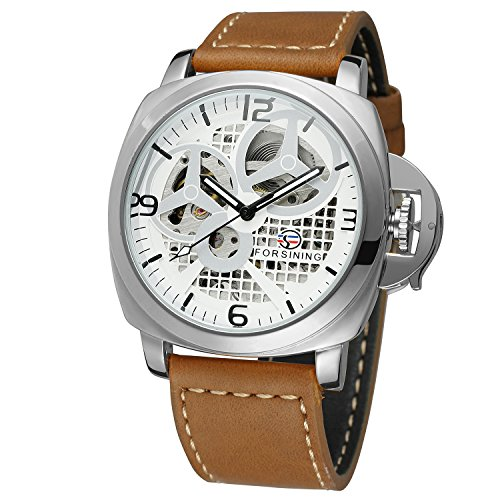FORSINING Mens High-end Brand Automatic Self-Wind Leather Band Classic Skeleton Mechanical Wrist Watch