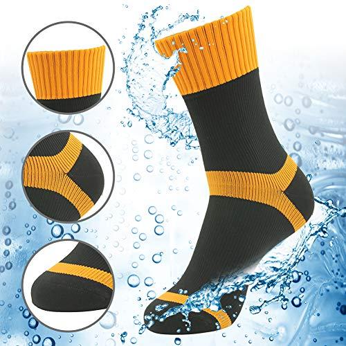 RANDY SUN Crew Waterproof Socks, Trekking Men's Breathable Ordinary Socks for Cycling, Riding, Running Black Orange